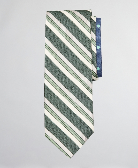 Silk and Linen Textured Variegated Stripe and Dot Tie Green