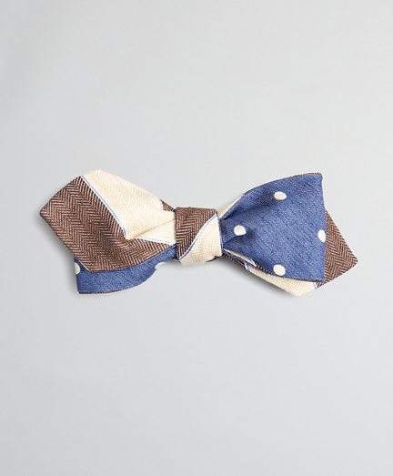 Textured Stripe and Dot Pointed End Bow Tie