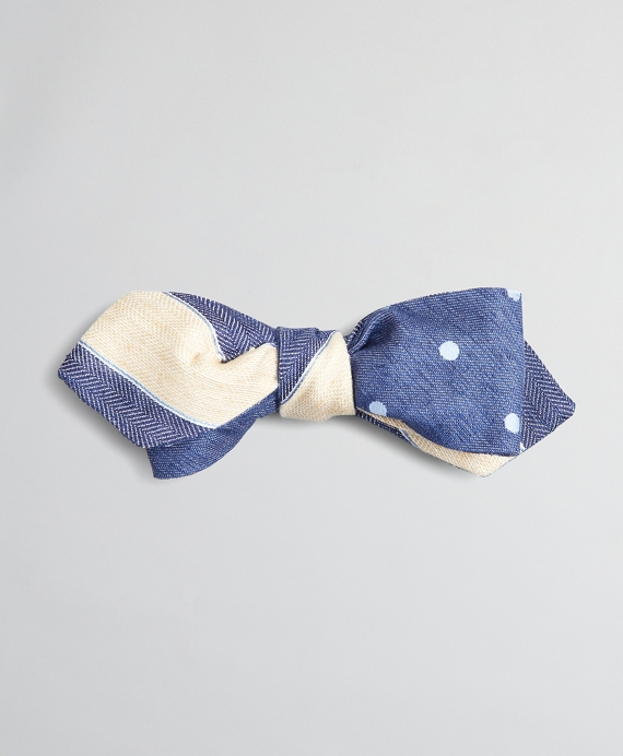 Textured Stripe and Dot Pointed End Bow Tie Navy