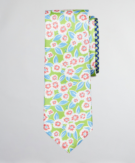 Floral with Dots Print Tie