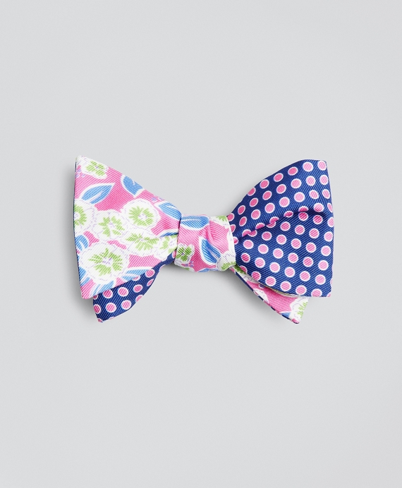 Floral with Dots Bow Tie Pink