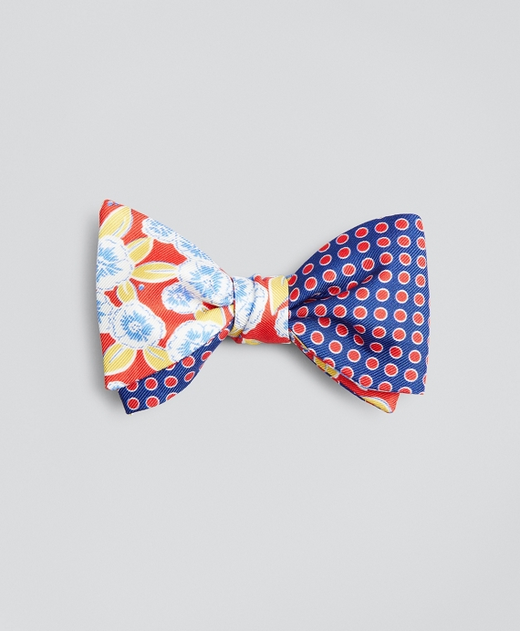 Floral with Dots Bow Tie Red