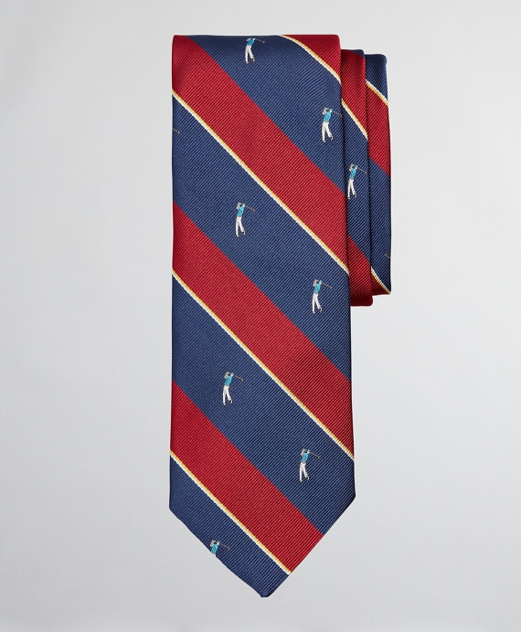 Golf Player Stripe Tie Red