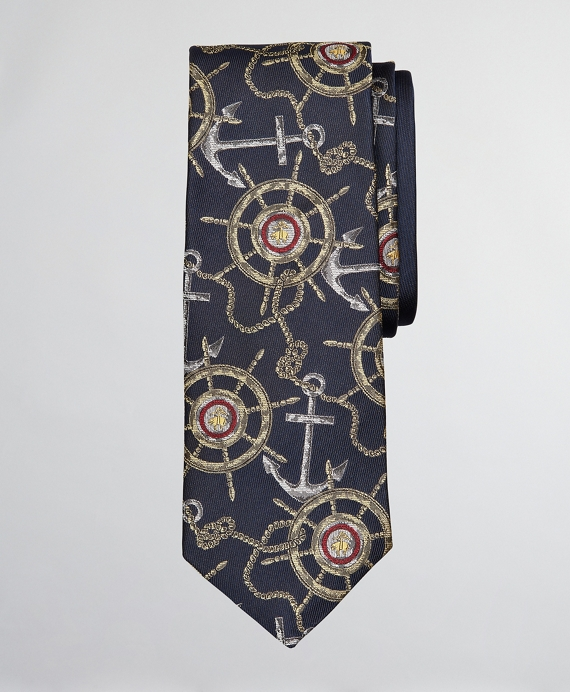 Limited Edition Archival Collection Nautical Motif Silk Tie Navy