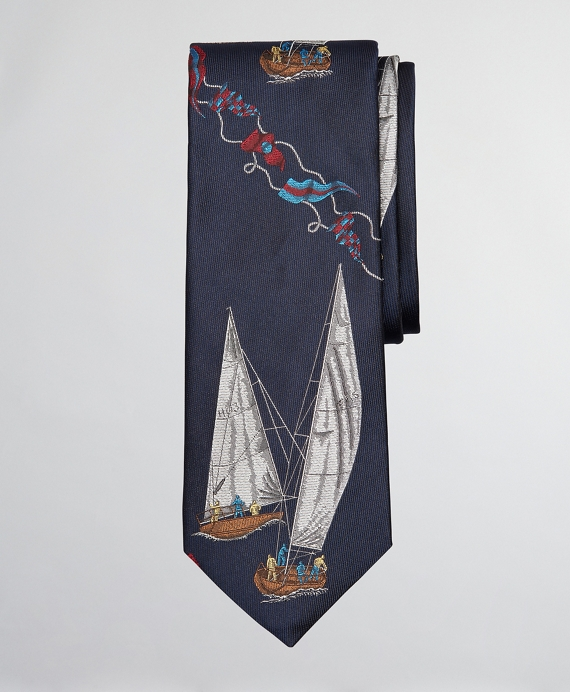Limited Edition Archival Collection Sail Boat and Sail Flag Silk Tie Navy