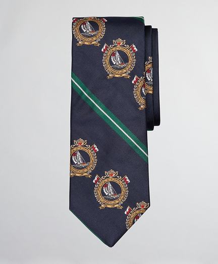 Limited Edition Archival Collection Nautical Crest and Rep Stripe Silk Tie