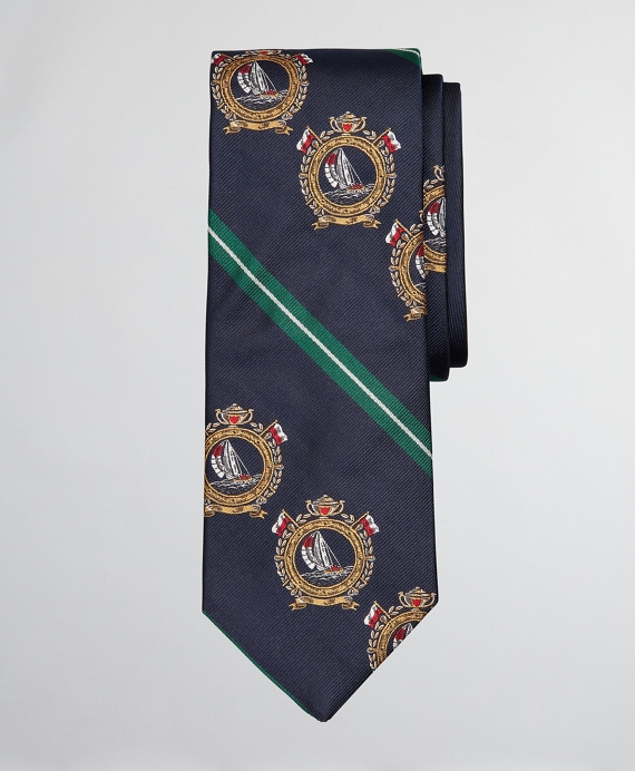 Limited Edition Archival Collection Nautical Crest and Rep Stripe Silk Tie Navy