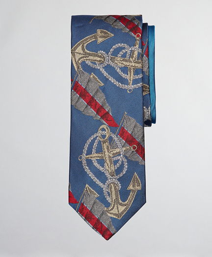 Limited Edition Archival Collection Anchor Motif Silk Tie