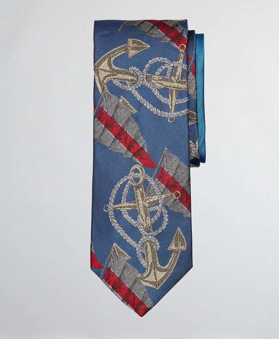 Limited Edition Archival Collection Anchor Motif Silk Tie Blue