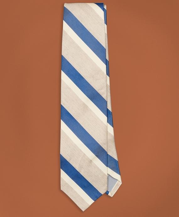 Golden Fleece® Striped Silk-Linen Tie Blue