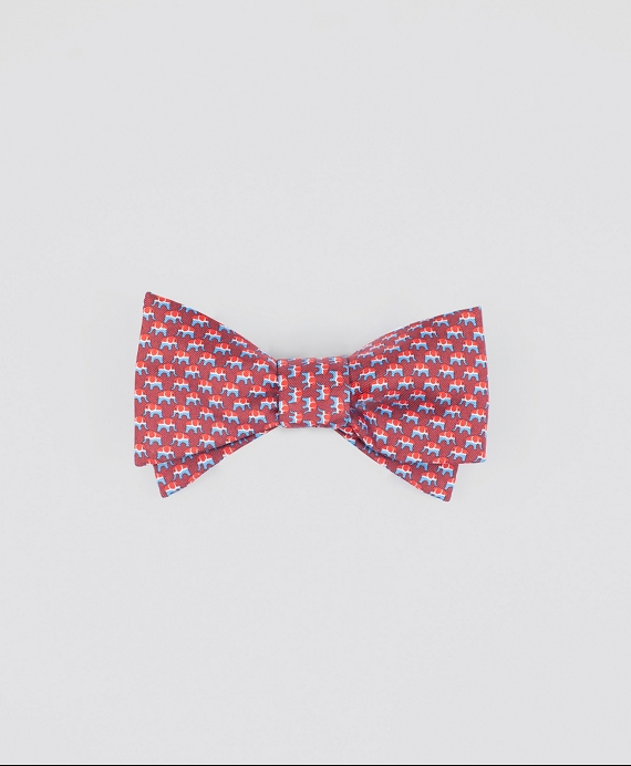 Elephant-Patterned Bow Tie Red