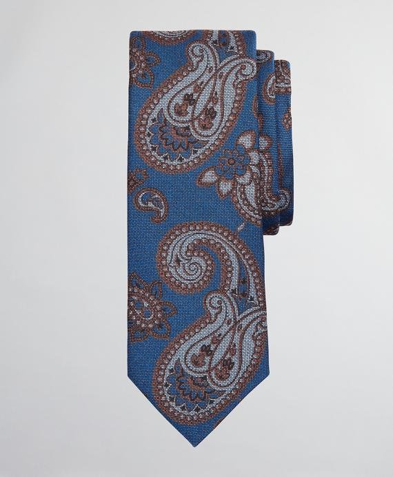 Paisley Wool and Silk Tie Navy