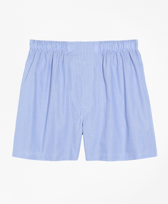 Traditional Fit Pencil Stripe Boxers Blue