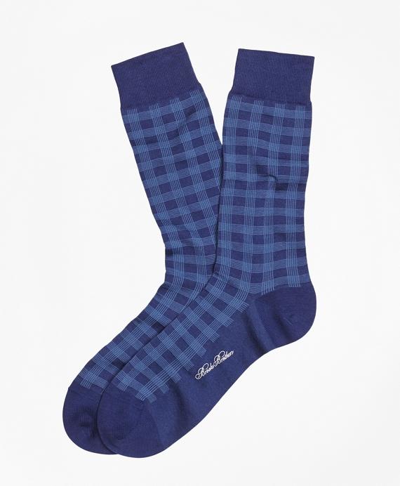 Spiral Grid Crew Socks Blue