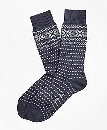 Merino Wool Snowflake Fair Isle Crew Socks