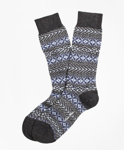 Cashmere Fair Isle Crew Socks