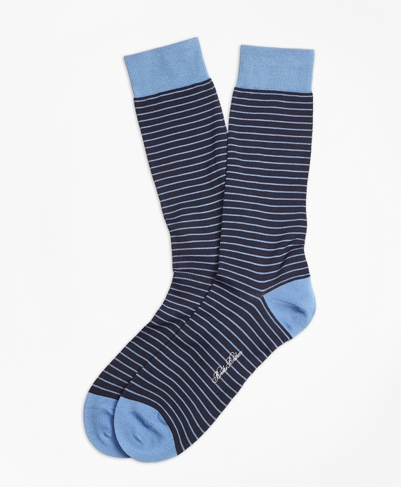 Bright Stripe Crew Socks Blue