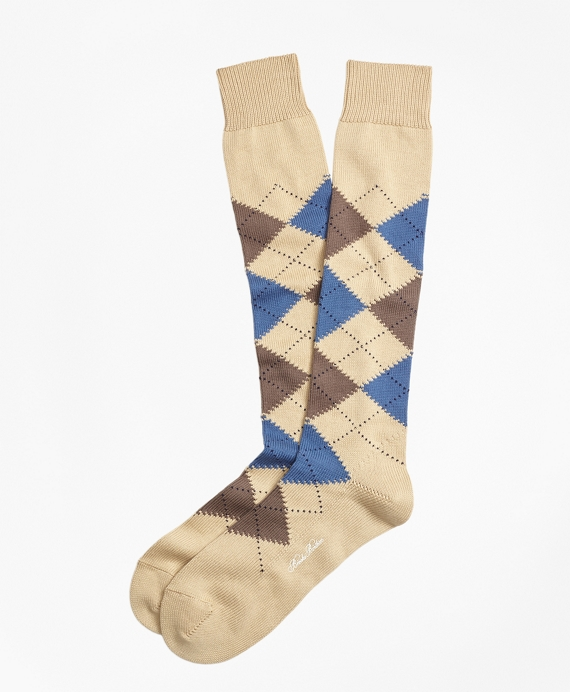 Cotton Argyle Over-the-Calf Socks Khaki