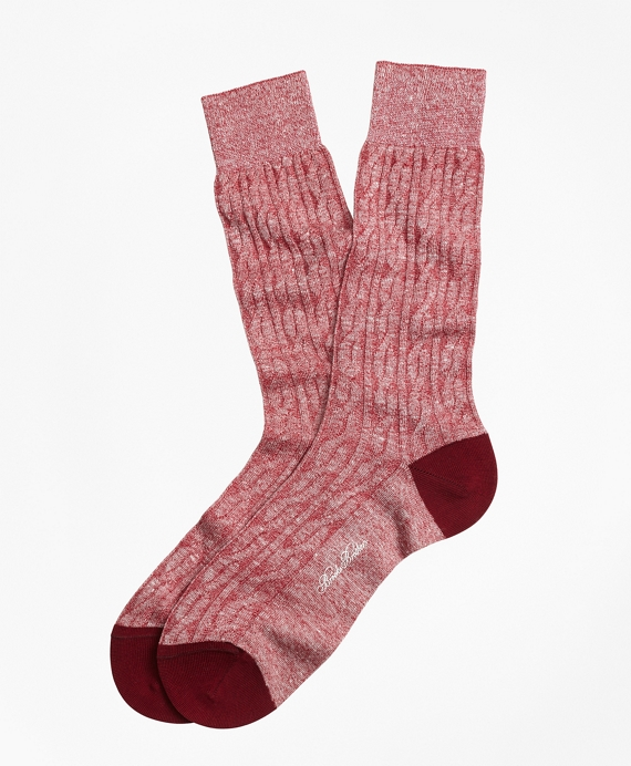 Marled Cable Crew Socks Red