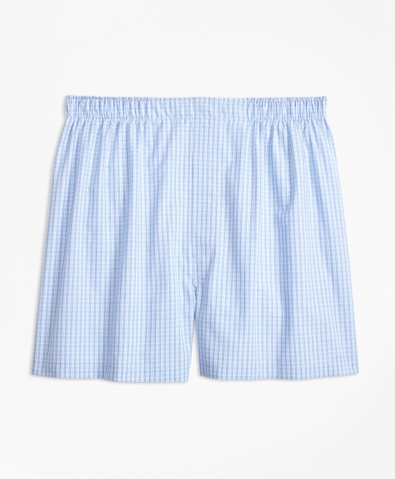 Traditional Fit Split Ground Check Boxers Blue