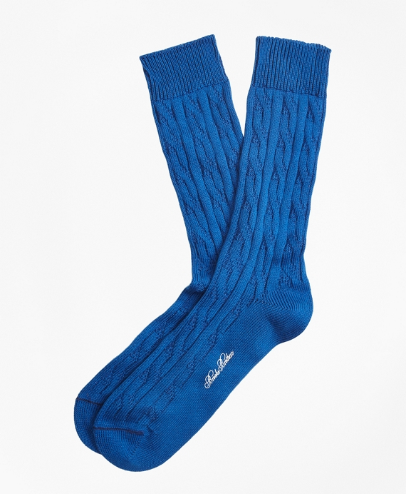 Cable Crew Socks Blue