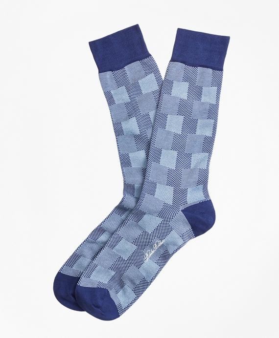 Patchwork Plaid Crew Socks Blue