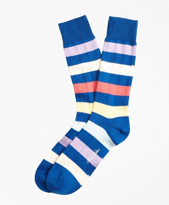 Multi-Stripe Crew Socks Blue