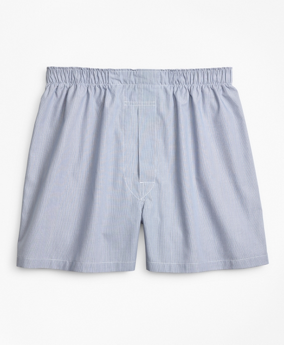 Traditional Fit Ground Hairline Stripe Boxers Blue
