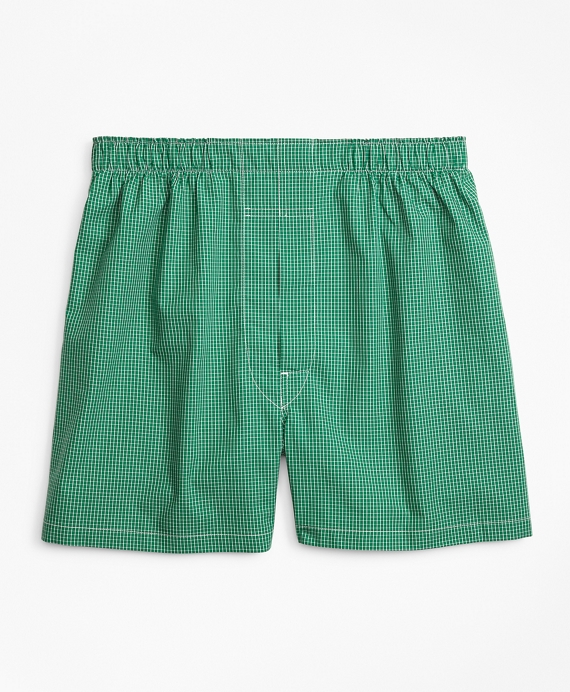 Traditional Fit Ground Check Boxers Green