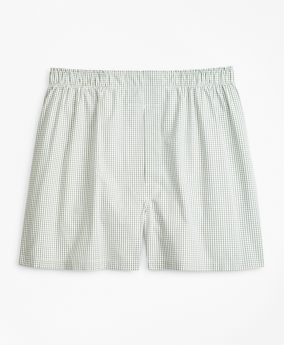 Traditional Fit Windowpane Boxers Green