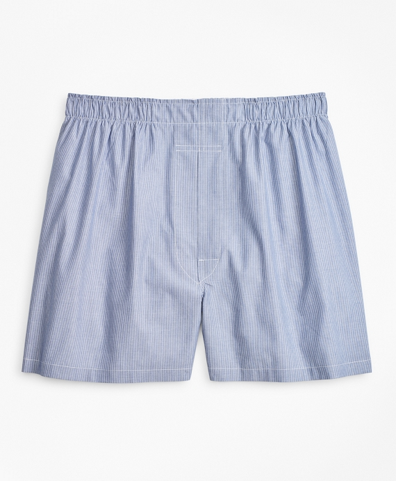 Traditional Fit Micro-Ground Stripe Boxers Blue