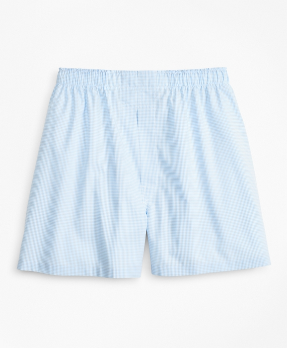 Traditional Fit Gingham Boxers Light Blue