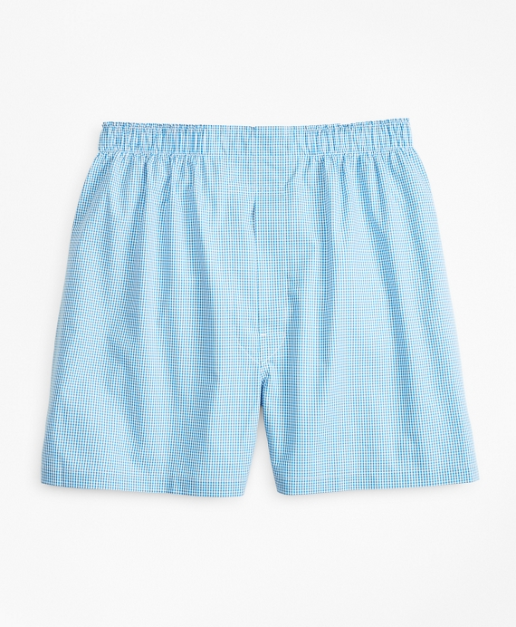 Traditional Fit Gingham Boxers Medium Blue
