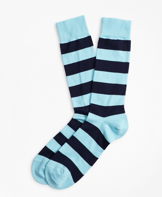 Stripe Crew Socks Sky Blue