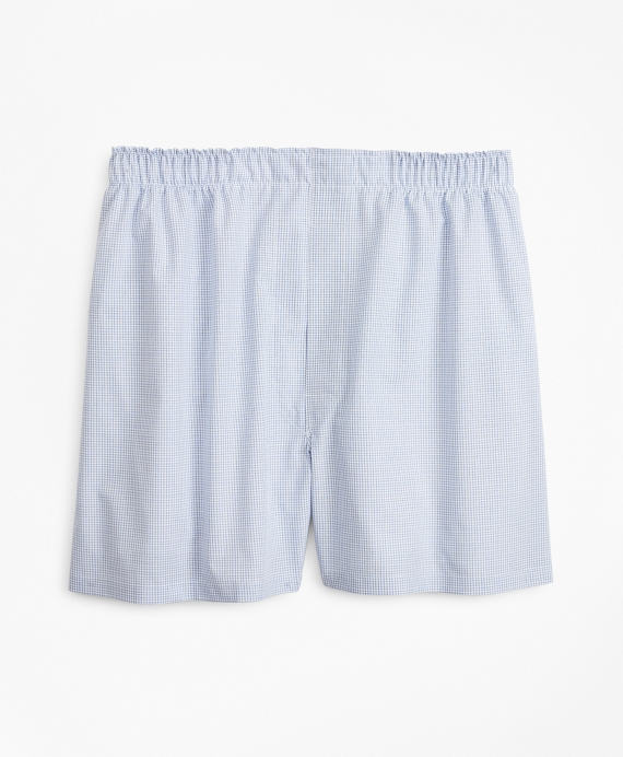 Traditional Fit Grid Check Boxers Blue