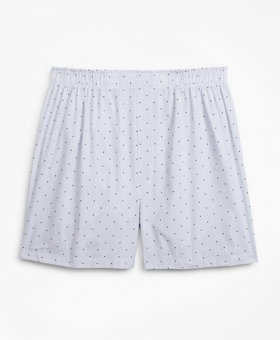 Traditional Fit Grid Dot Boxers Blue