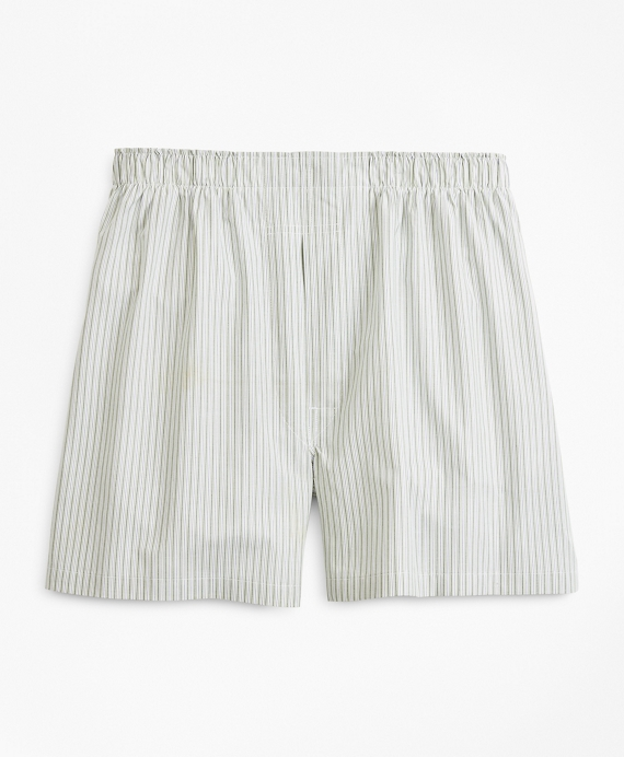 Traditional Fit Stripe Boxers Green