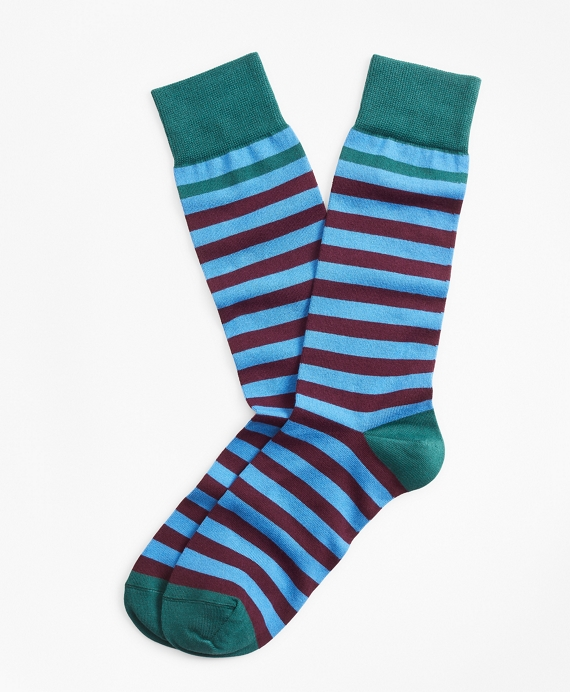 Stripe Crew Socks Aqua