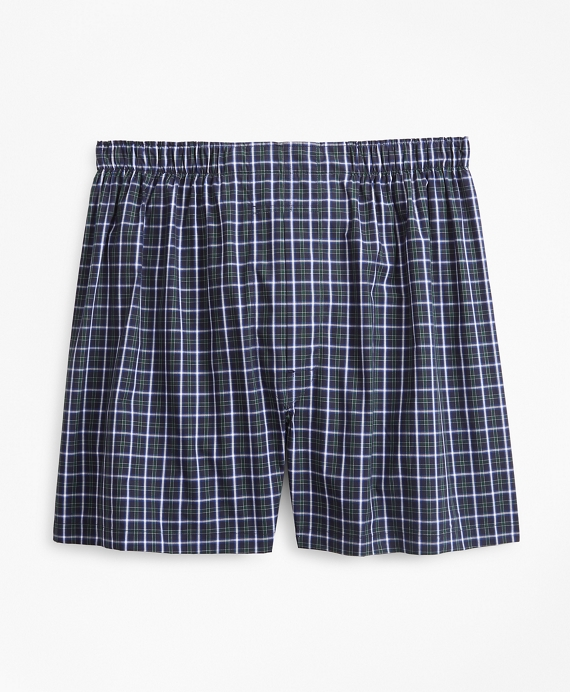 Traditional Fit Multi-Check Boxers Green