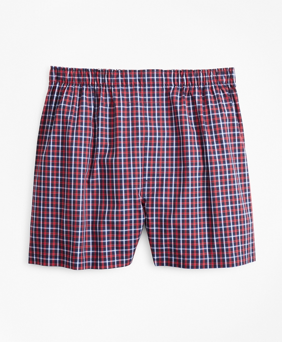 Traditional Fit Multi-Check Boxers Red