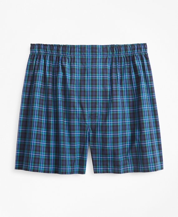 Traditional Fit Plaid Boxers Navy-Green