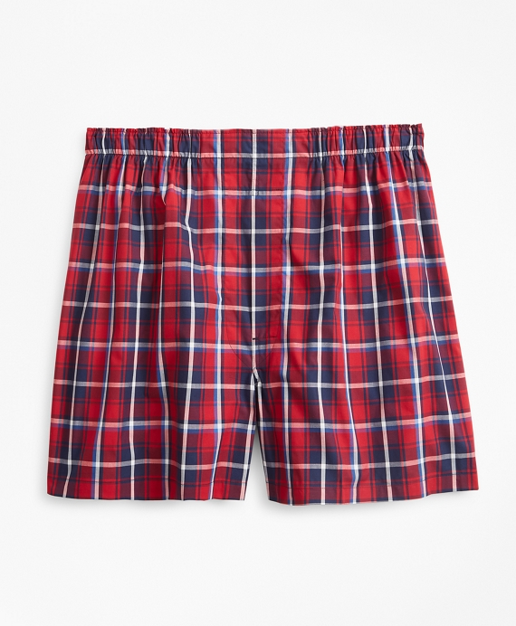 Traditional Fit Plaid Boxers Red