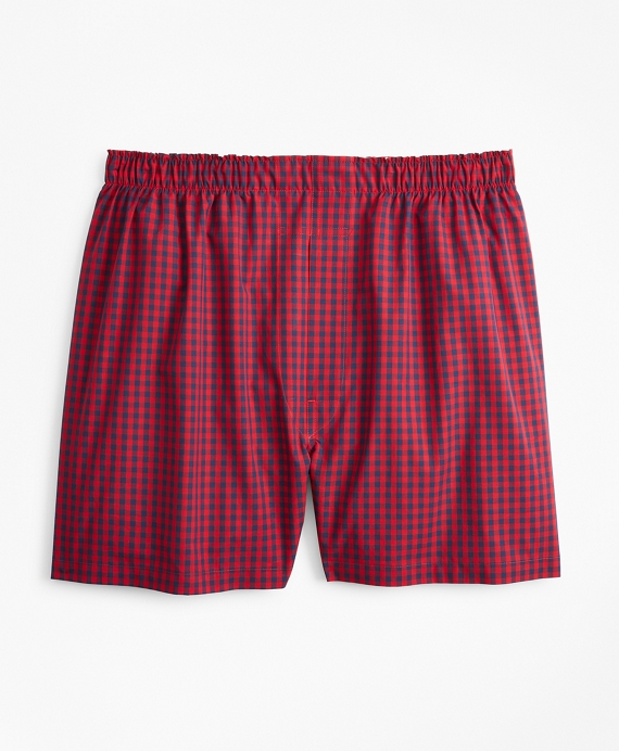 Traditional Fit Gingham Boxers Red