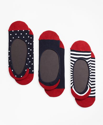 Dot-Solid-Stripe Loafer Socks-Three Pack