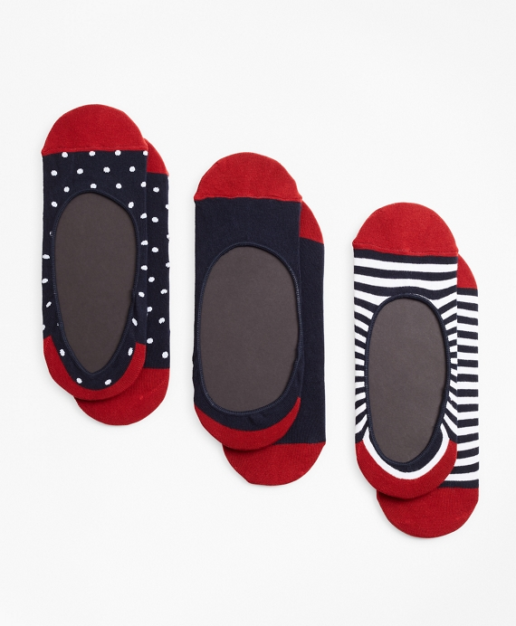 Dot-Solid-Stripe Loafer Socks-Three Pack Navy