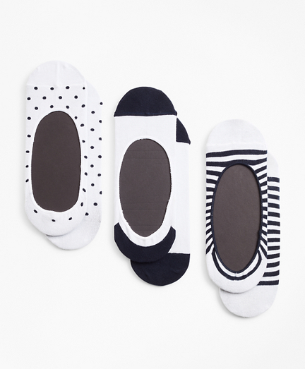 Dot-Solid-Stripe Loafer Socks-Three Pack