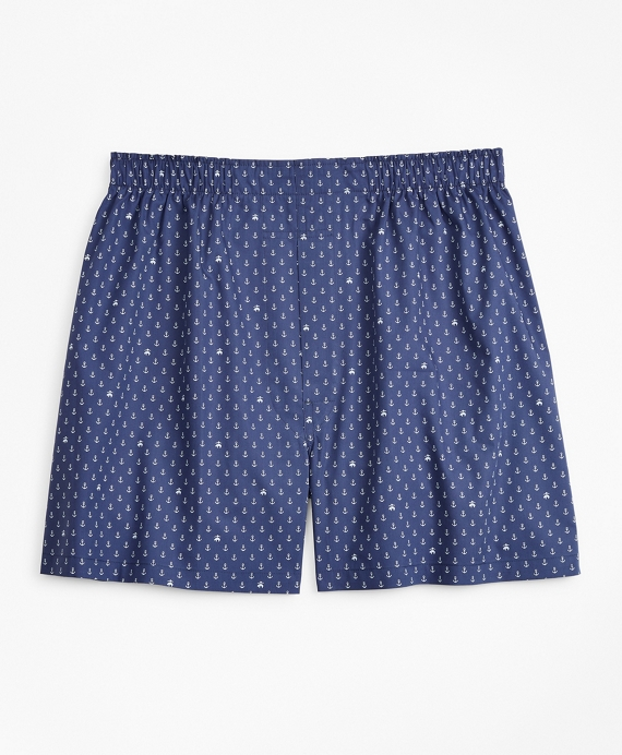 Traditional Fit Anchor and Fleece Boxers Navy