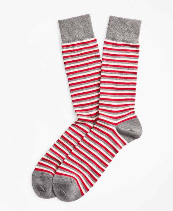 Multi-Stripe Crew Socks Grey