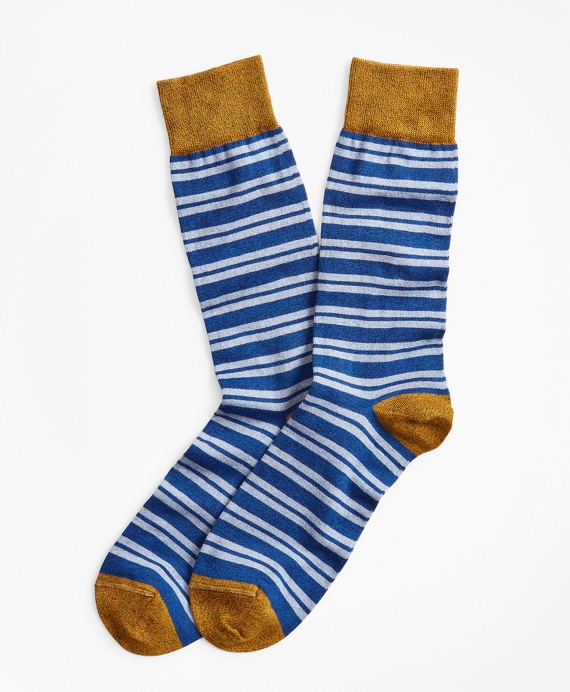 Heathered Double-Stripe Crew Socks Blue