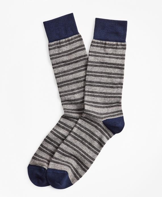 Heathered Double-Stripe Crew Socks Grey
